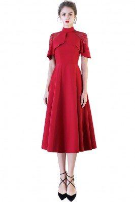 Chic High Neck Burgundy Red...