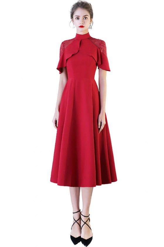 Chic High Neck Burgundy Red Tea Length Party Dress with Sleeves
