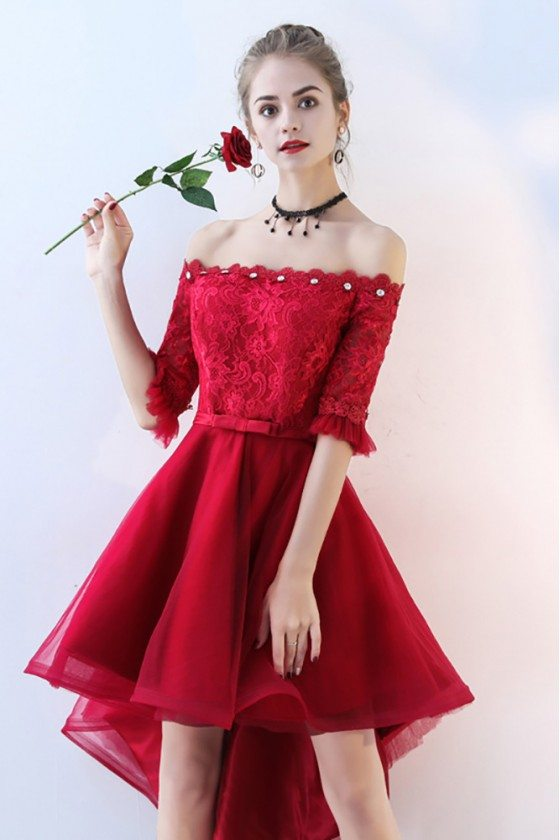 Red Lace Tulle Homecoming Prom Dress Off Shoulder Sleeves High Low