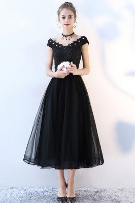 Black Tulle Party Dress Tea...