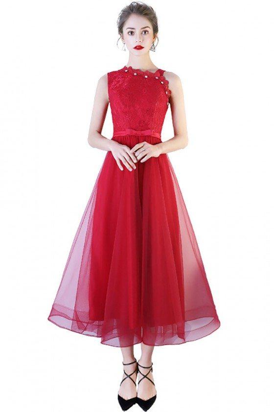 Burgundy Tea Length Tulle Party Dress Beaded Neckline Sleeveless
