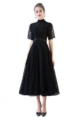 Black Lace High Neck Aline...