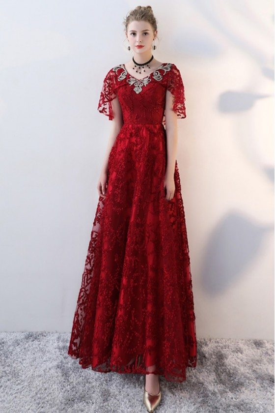 Burgundy Long Red Lace Formal Dress with Cape Sleeves