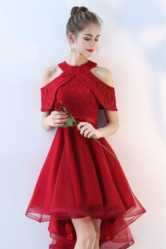 Burgundy Short Tulle Homecoming Party Dress Lace Cold Shoulder