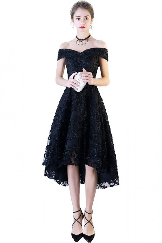 Black Lace Off Shoulder Prom Party Dress High Low