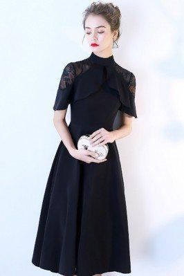 Short Sleeved Red Satin Formal Long Dresses with Black Beading shd305
