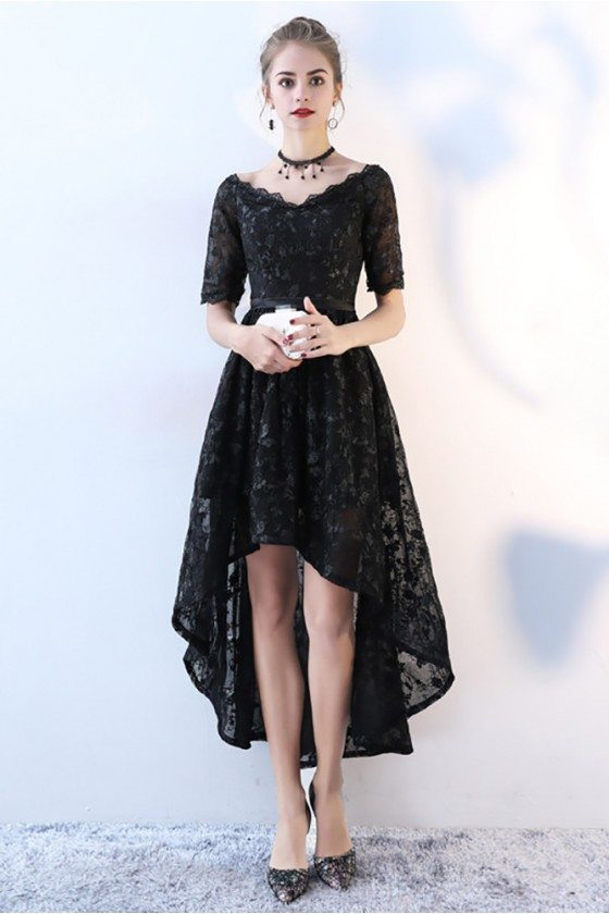 Chic Lace High Low Black Homecoming Dress with Sleeves