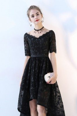 Cap Sleeve Modest Fitted Black Beaded Formal Short Dresses for Women shc129