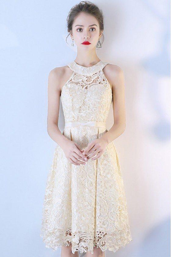 Elegant Champagne Lace Short Halter Party Dress
