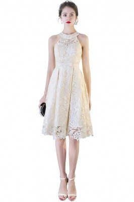 Women's Apricot and Black Lace Party Dresses Tea Length shc138