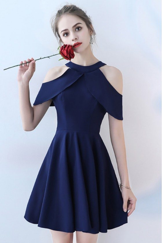 Simple Navy Blue Short Homecoming Party Dress with Cold Shoulder
