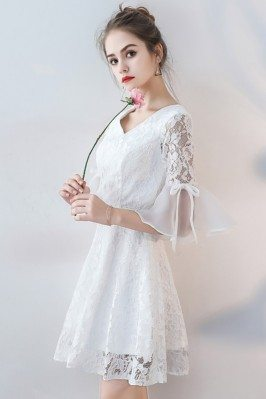 Juniors Cute White Beaded Lace Short Homecoming Dresses 2015 shc113