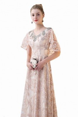 Elegant Taffeta Blue Exotic Sequined Long Formal Dress