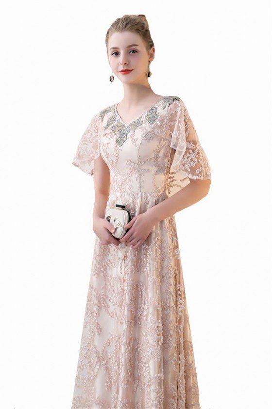 Elegant Taffeta Blue Exotic Sequined Long Formal Dress CK356
