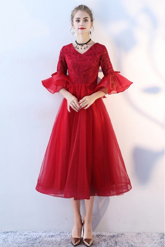 Burgundy Red Formal Party Dress Tea Length with Bell Sleeves