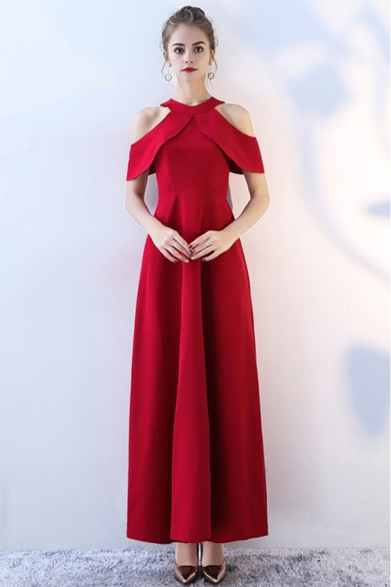 Elegant Long Red Halter Formal Party Dress Empire Waist