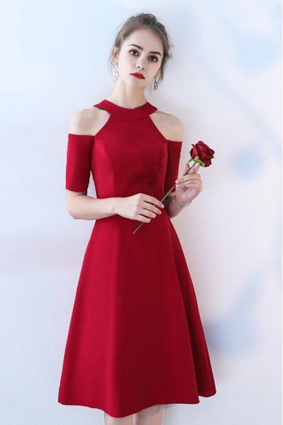Tea Length Burgundy Party Dress Halter with Sleeves