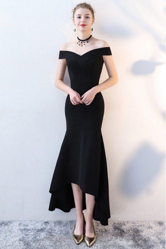 Fitted Black Mermaid High Low Formal Dress Off Shoulder