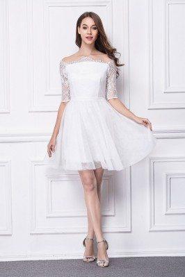 Little White Lace Off Shoulder Short Dress