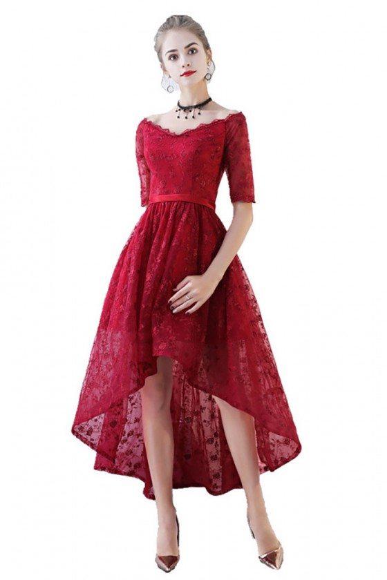 Burgundy Lace High Low Prom Homecoming Dress Vneck With Sleeves