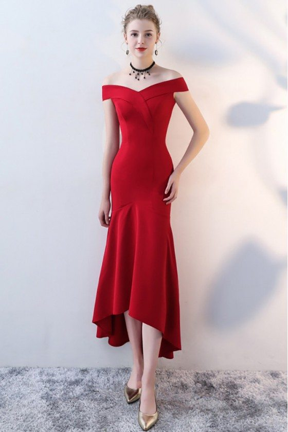 Burgundy Red Fitted Mermaid Party Dress Off Shoulder