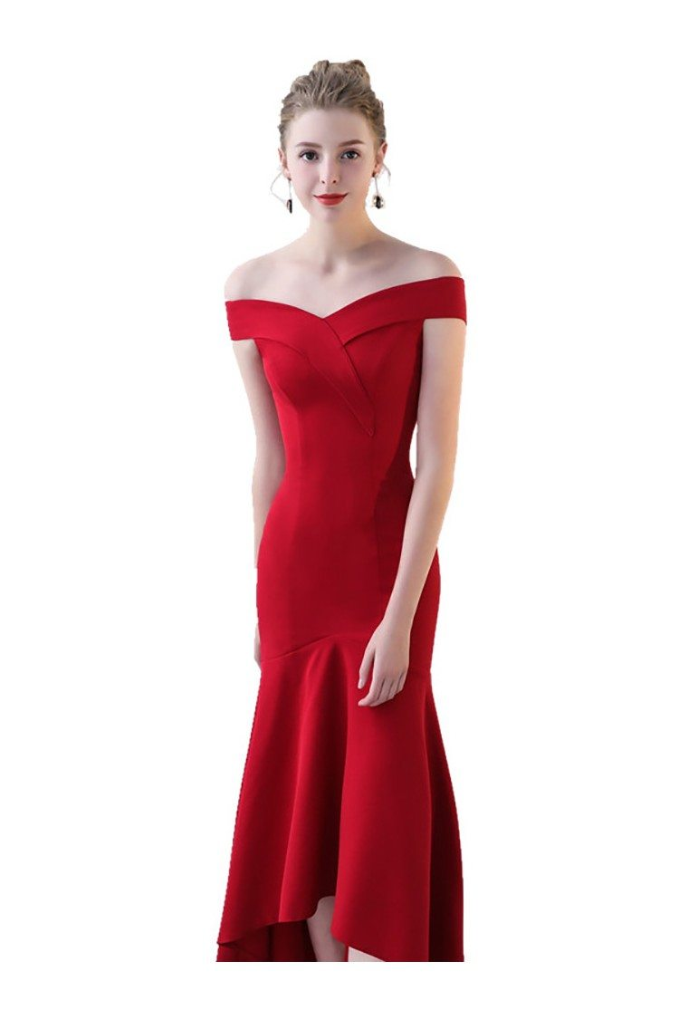 Burgundy Red Fitted Mermaid Party Dress Off Shoulder 67