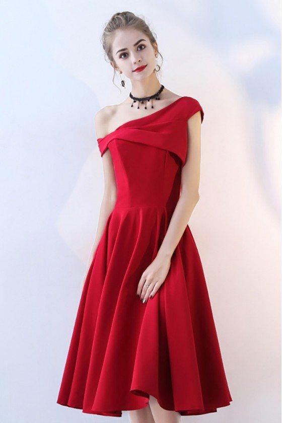 Simple Burgundy Red Aline Party Dress Tea Length One Shoulder