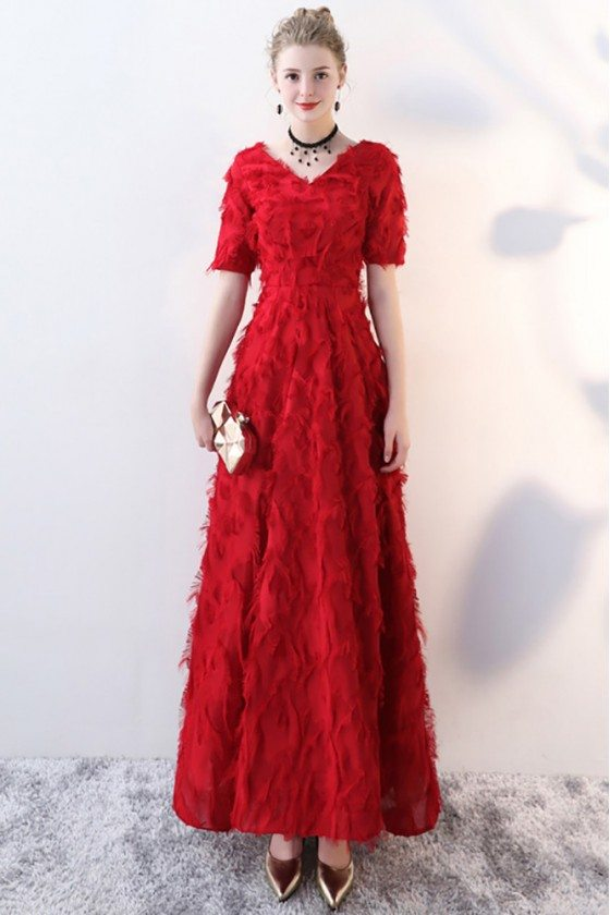 Burgundy Feathers Long Formal Party Dress with Sleeves