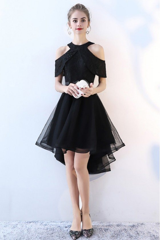 Chic Black Tulle High Low Homecoming Prom Dress