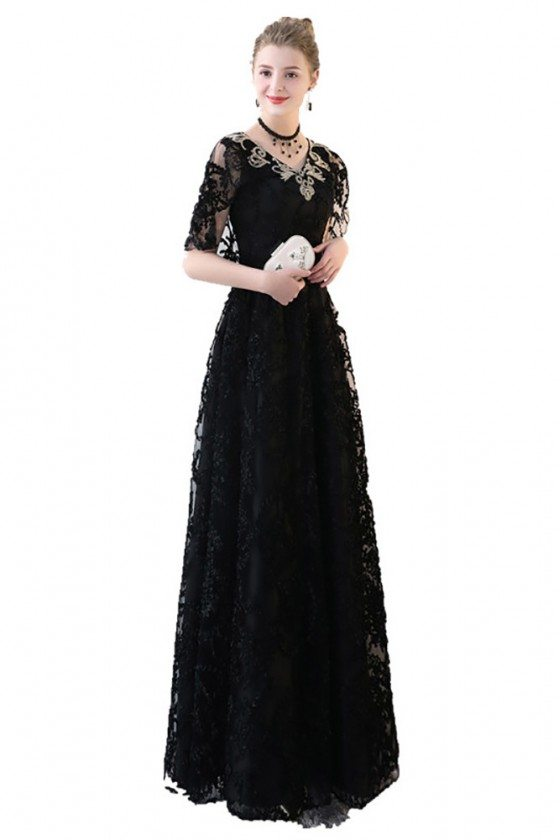 Black Lace Empire Long Formal Dress Vneck With Sleeves 8925