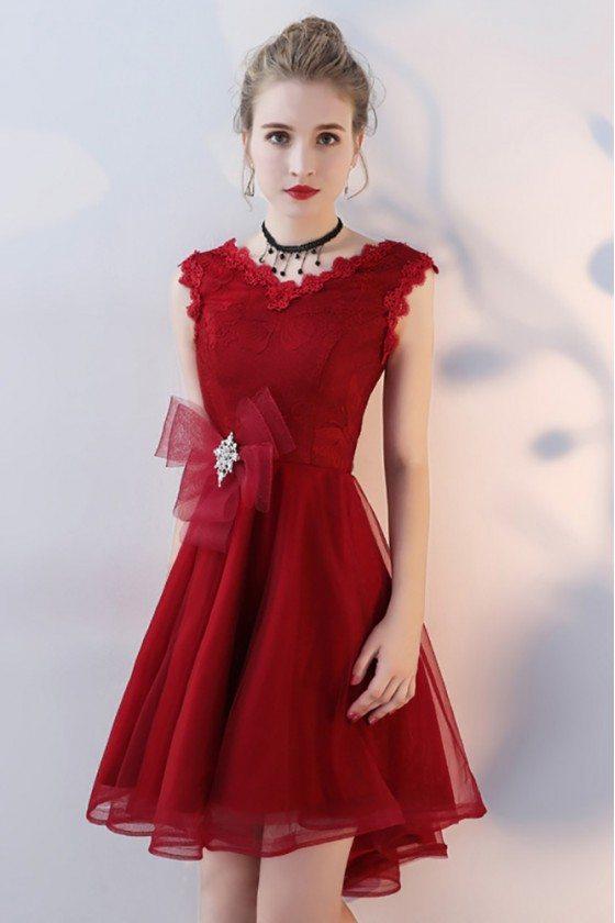 Burgundy Short Homecoming Dress V-neck with Ruffles