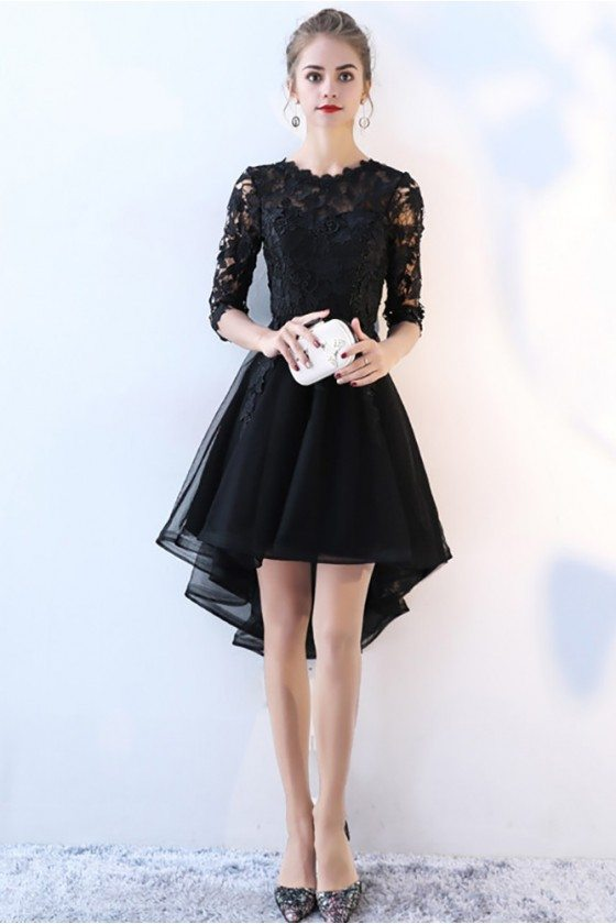 Lace Half Sleeve High Low Black Prom Dress
