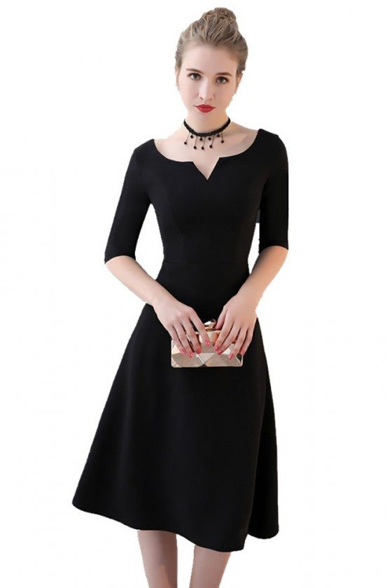 Simple Black Aline Knee Length Party Dress with Sleeves