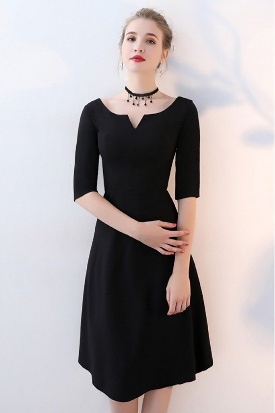Simple Black Aline Knee Length Party Dress With Sleeves 6545