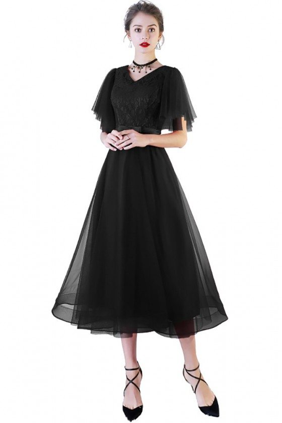 Black Tea Length Party Dress Tulle with Puffy Sleeves