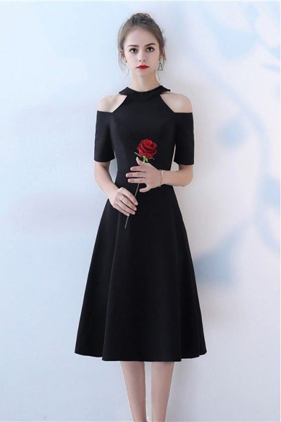 Tea Length Black Party Dress Halter with Sleeves