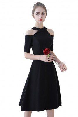Gorgeous 3/4 Sleeve Mini Little Black Lace Dress DK252