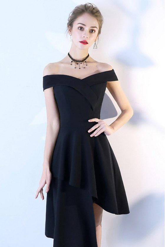 Chic Black High Low Party Dress Off Shoulder
