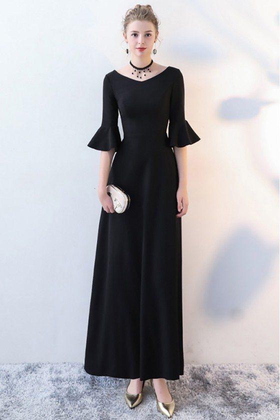Elegant Maxi Long Black Formal Dress with Trumpet Sleeves