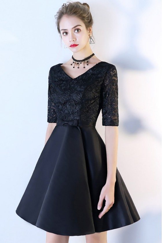 Black Lace Short Homecoming Dress with Half Sleeves