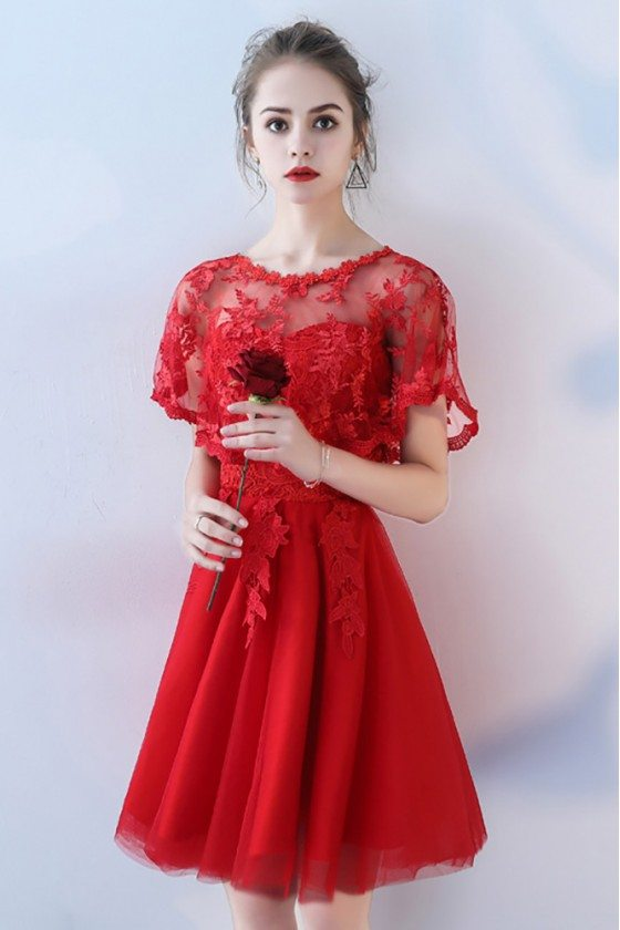 Red Cape Sleeve Short Party Dress with Lace