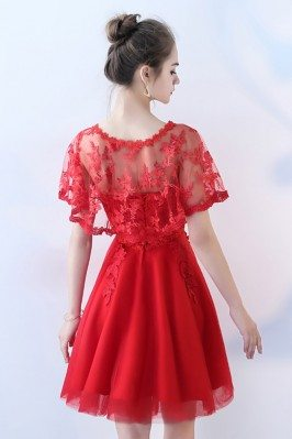 Red and Gold Lace Long Wedding Party Dress Cap Sleeves CK383