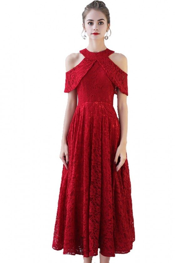 Retro Red Lace Homecoming Party Dress Tea Length Aline