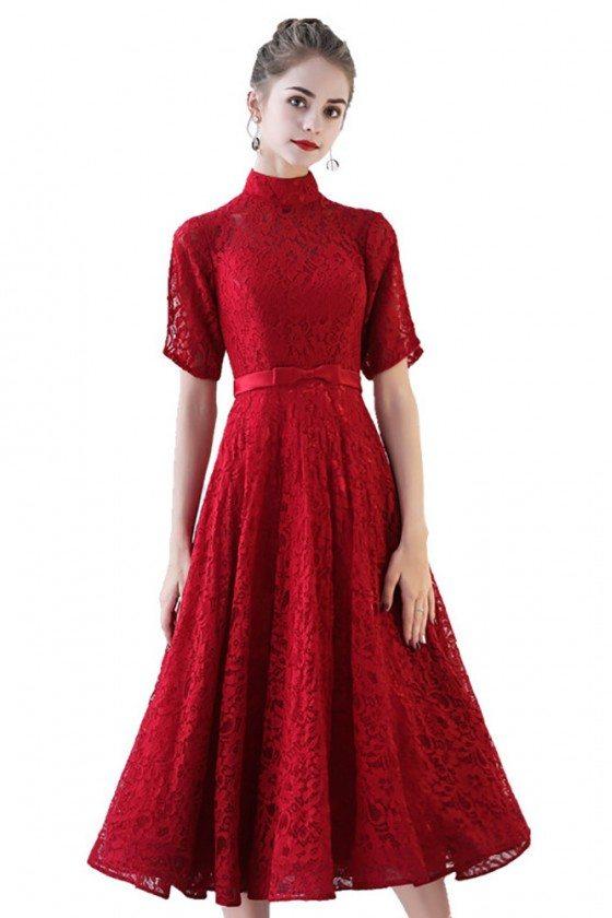 Retro High Neck Burgundy Lace Wedding Party Dress Tea Length