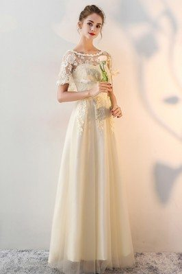 Lace Chiffon Exotic Pattern Short Sleeved Dress For A Wedding CK388