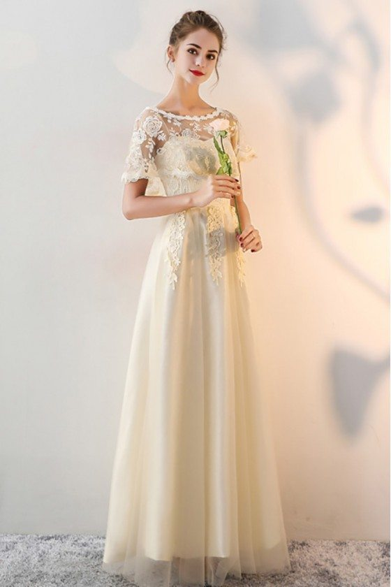 Long Champagne Wedding Party Dress Tulle with Cape Sleeves