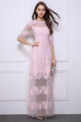 Lace Half Sleeve See-through Long Dress