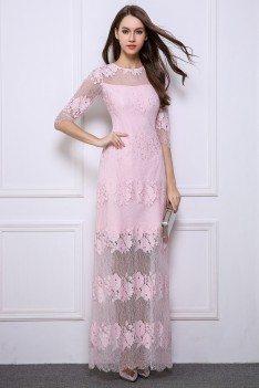 Lace Half Sleeve See-through Long Dress