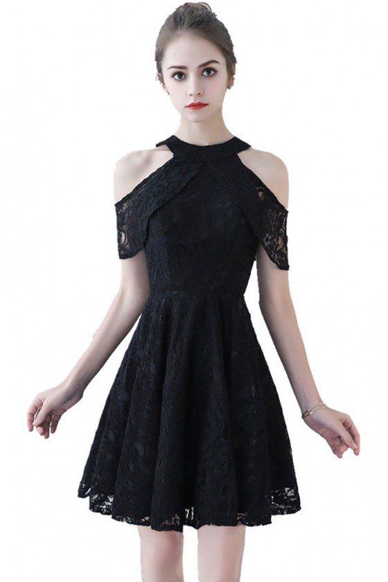 Little Black lace Short Homecoming Dress Aline