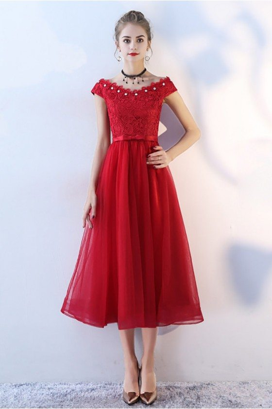 Burgundy Cap Sleeve Tea Length Party Dress Beaded Neckline